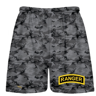 Blackout Camouflage Army Ranger Shorts - Army Ranger Black Shorts - Athletic Shorts Army