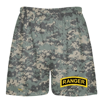 Faded Digital Small Camouflage Army Ranger Shorts - Army Ranger Black Shorts - Athletic Shorts Army
