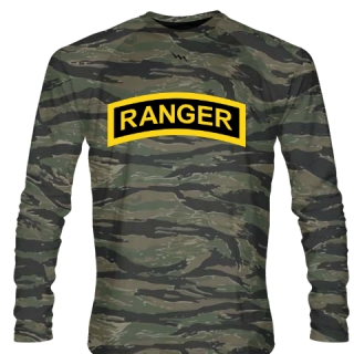 Tiger Camouflage Army Ranger Long Sleeve Shirts - Long Sleeve Shooter Shirts