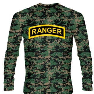 Green Digital Camouflage Army Ranger Long Sleeve Shirts - Long Sleeve Shooter Shirts